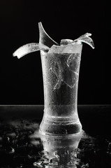 Broken glass fragments still life isolated