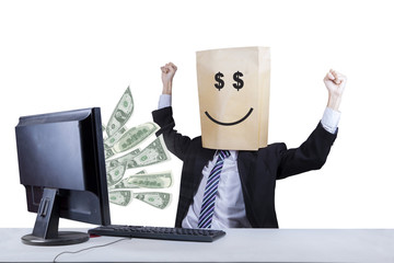 Happy face of businessman looking money 2