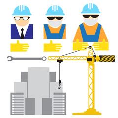 Engineer and workers building scene flat desing