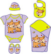 Cute Baby Layette with cute bear in love - vector illustration