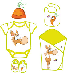 Cute Baby Layette with cute horse and carrot