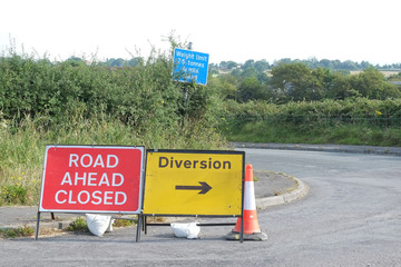 Road closed ahead and diversion in UK