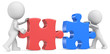 Dude the partners x 2 putting puzzle pieces together.Red & Blue.
