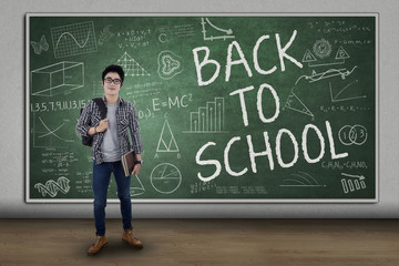 Male student back to school