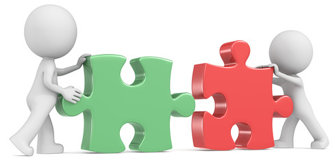 Dude the partners x 2 putting puzzle pieces together. Red&Green.