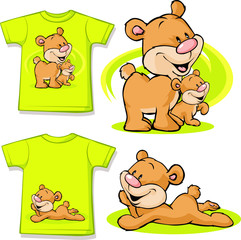 kid shirt with cute bear in love printed - isolated on white