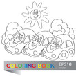Vector illustration of cars on the summer meadow coloring book