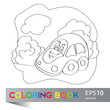 Vector illustration of car on the summer meadow coloring book
