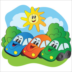 Vector illustration of cars on the summer meadow