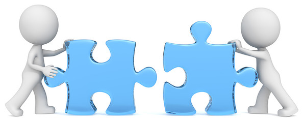 Dude the partners putting blue glass puzzle pieces together.