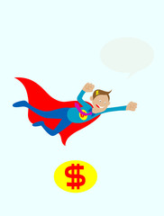 Businessman flying mascot,art vector illustration