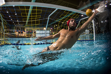 A water polo goalkeeper