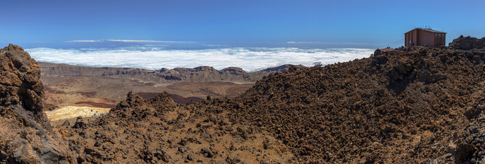 Panoramic from top of Teide volcano with the railway building