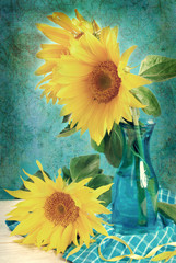 vintage image of sunflowers in vase
