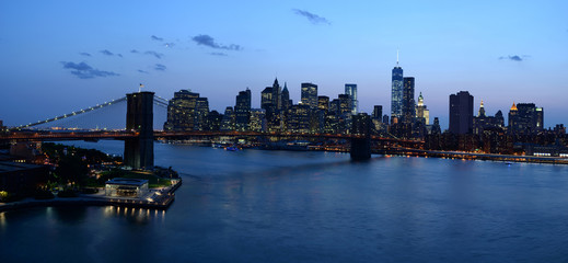 Panorama of Brooklyn Bridge at night