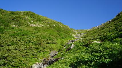 赤石岳と渓谷