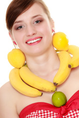 Diet. Girl with fruit necklace and earrings