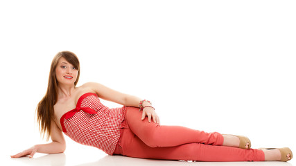 Summer fashion. Teenage girl in red outfit isolated