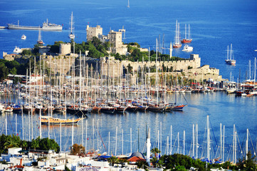 View of Bodrum harbor during hot summer day. Turkish Riviera