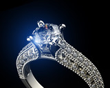 Golden Ring with Diamond. Jewelry background - 68338499