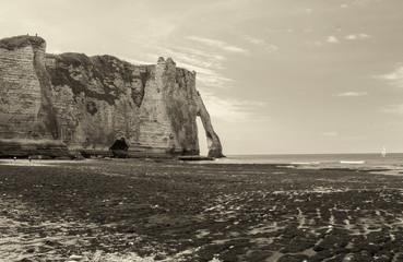 Etretat,Normandy. La Manneporte natural rock arch wonder, cliff