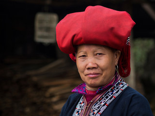 Red Dao Woman Wearing Traditional Attire, Sapa, Lao Cai, Vietnam