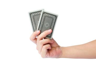 ็Isolated hand holding two cards (Gambling game)