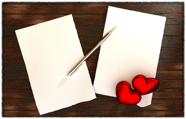 romantic message on wooden table template