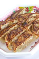 Asian appetizer menu fried dumpling or  gyoza in japanese word