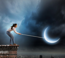 Woman with moon