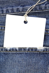 Close - up Blue jeans detail with blank white tag