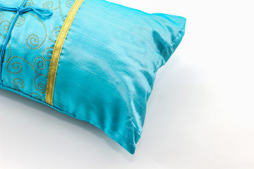 Blue pillow.