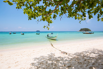 boat on beach of island in Lipe, Thailand