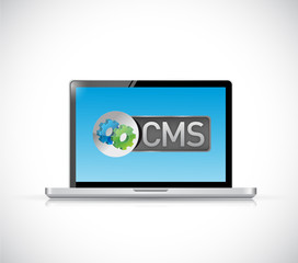 cms sign laptop illustration design