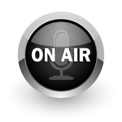 on air black chrome glossy web icon
