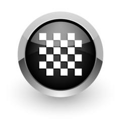 chess black chrome glossy web icon