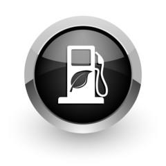 biofuel black chrome glossy web icon