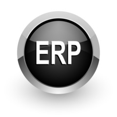 erp black chrome glossy web icon