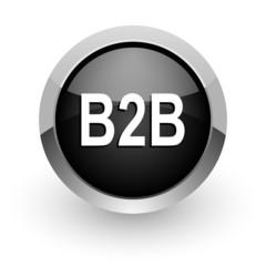 b2b black chrome glossy web icon