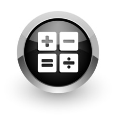 calculator black chrome glossy web icon