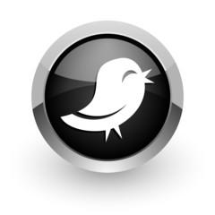 black chrome glossy web icon