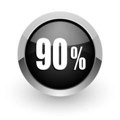 90 percent black chrome glossy web icon