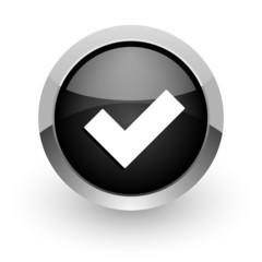 accept black chrome glossy web icon