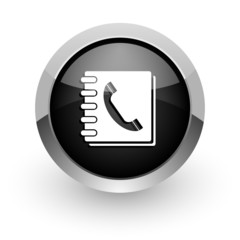 phonebook black chrome glossy web icon
