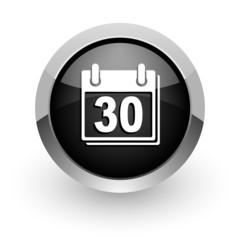 calendar black chrome glossy web icon