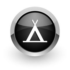 camp black chrome glossy web icon