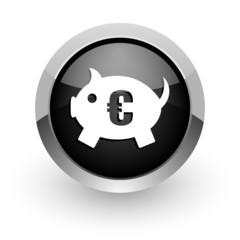 piggy bank black chrome glossy web icon
