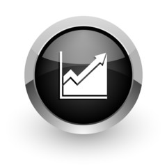 histogram black chrome glossy web icon