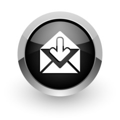 email black chrome glossy web icon