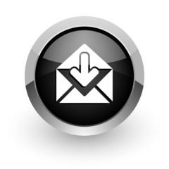 email black chrome glossy web icon